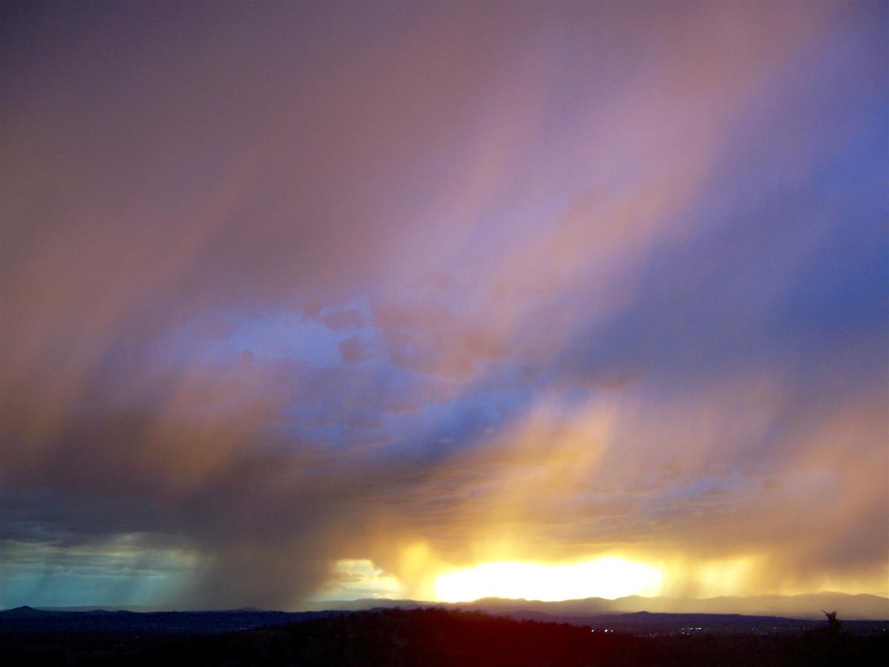 Incredible rain shower and sunset SE Santa Fe
