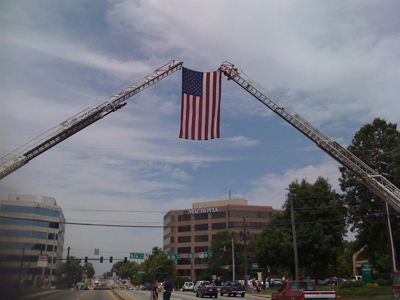 Waving Old Glory in downtown Gainesville, GA