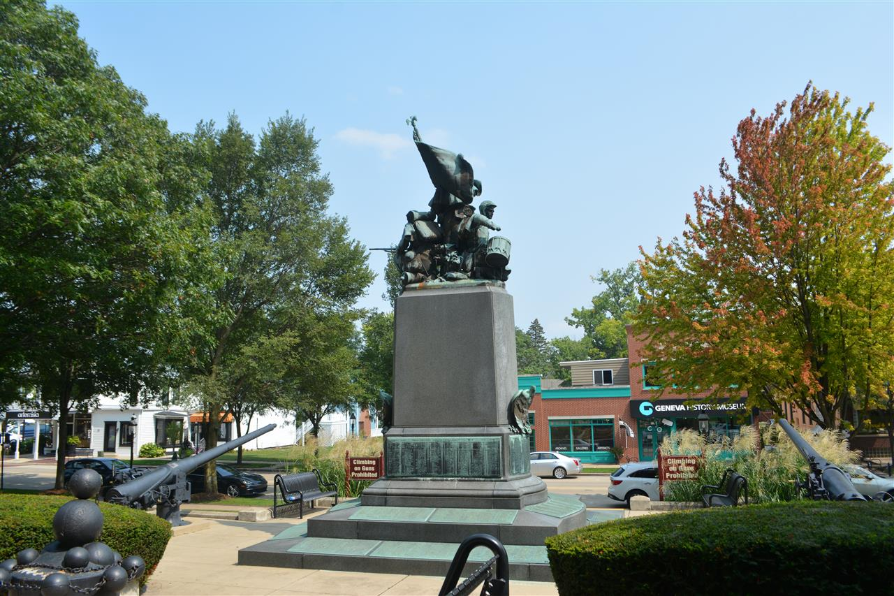 Sculpture in front of the Kane County Courthouse in Geneva, IL