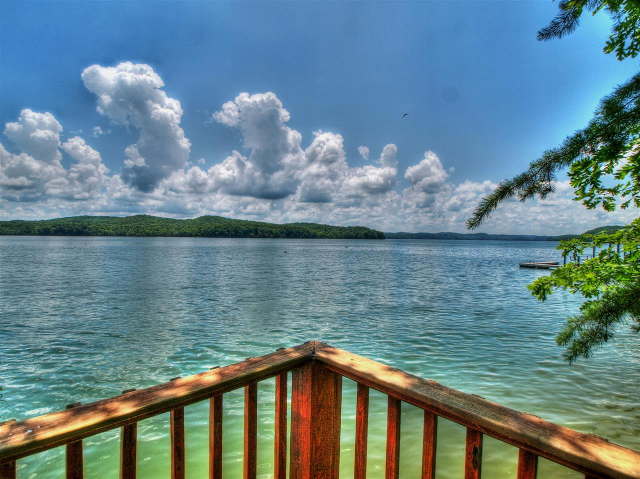 View from a deck in Crystal Cove community on 39,000 acre Watts Bar Lake in Rockwood Tennessee