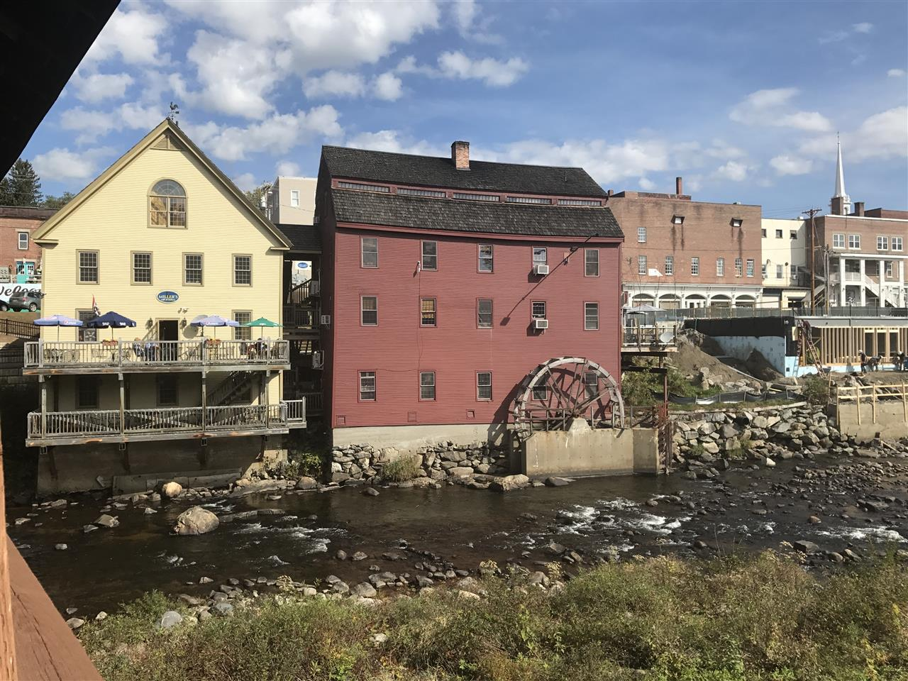 The historic grist mill building now featuring restaurants and more in downtown Littleton, NH.