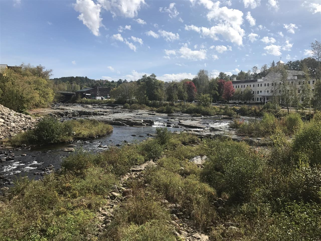 In the summer, these rocks are dotted with people enjoying the water and sun in downtown Littleton, NH.