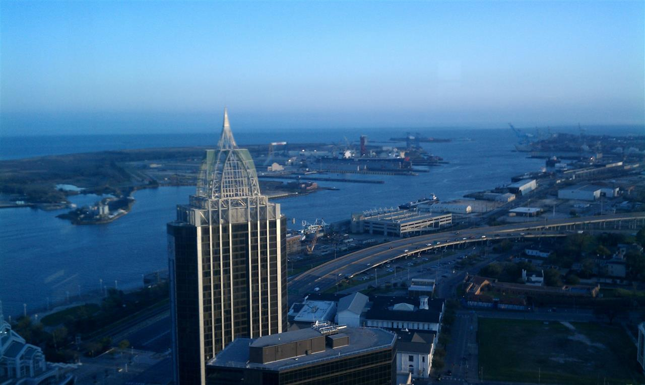 Ship Building and Cruise Ship Terminal from RSA Tower in Mobile, AL by Casey P