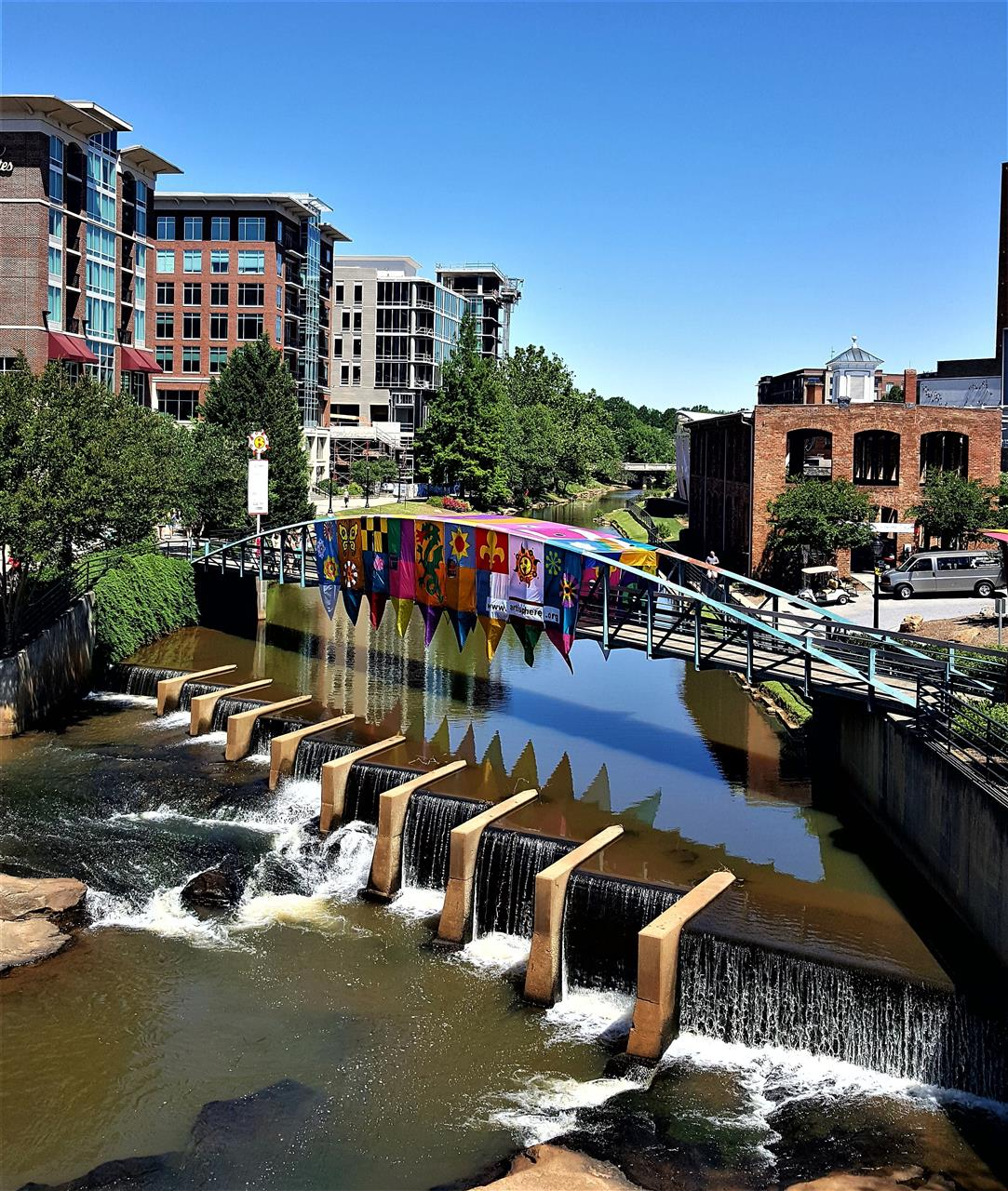 Reedy River Walking Bridge, Greenville SC, all decked out for Artisphere!