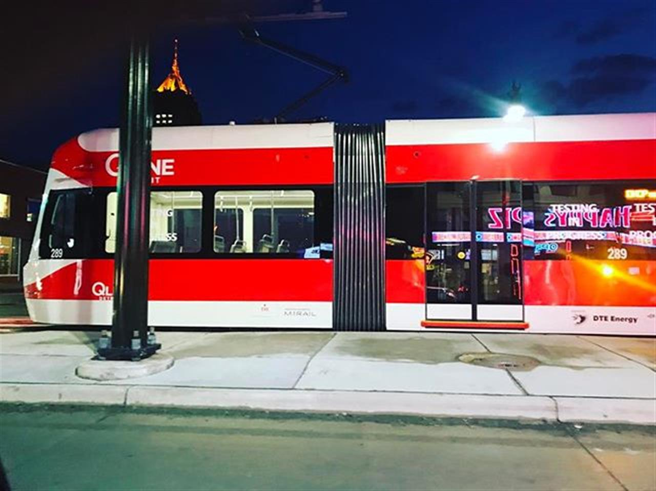 Super excited to see the QLINE in motion tonight out on Woodward... #qline #detroit #transportation #woodwardave #leadingrelocal